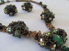 Vintage Austria Czech Green Marguerite Pendant Book Chain Necklace Earrings Set