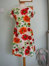 DOLLS VINTAGE INSPIRED FLORAL SHIFT DRESS SZ M GOGO/60'S/TUNIC/10/12/NYLON/MOD