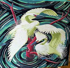 Vintage mid century art deco heron egret barkcloth fabric panel pillow piece!