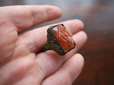 Antique Victorian Chinese Natural Carnelian Silver Ring