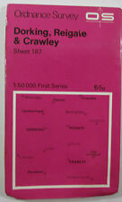 1972 OS Ordnance Survey 1:50 000 1st Series Map 187 Dorking Reigate & Crawley