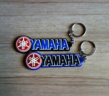 2 YAMAHA Keychain Key ring Blue Black Rubber Motorcycle Racing Collectible Gift