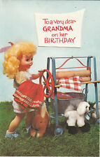 Vintage Dolls 1970's Happy Birthday Grandma Greeting Card ~ Clothes Mangle
