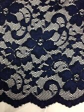 "New Fashion Navy Blue  Stretch Floral Lace Fabric Double Scalp Border 59"" 150 Cm"