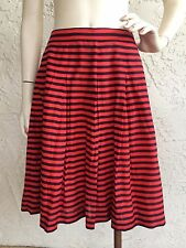J CREW Skirt Navy Blue Red Striped Pleated A Line Cotton Silk Sz 8