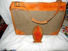 Vintage HARTMANN Leather Trim Tweed Cross Strap Travel Carry-On Tote Bag
