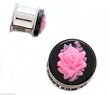 """PAIR-Cameo Rose Pink Steel Double Flare Plugs 16mm/5/8"""" Gauge Body Jewelry"""