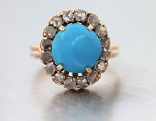 Lovely Ladies Antique Victorian 14K Rose Gold Turquoise Diamond Cocktail Ring