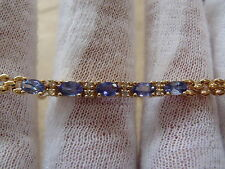 14k Yellow Gold All Natural Tanzanite Tennis Bracelet with Diamond Accent