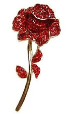 Crystal RED ROSE Brooch ST GEORGES GEORGE'S DAY Rugby RFU Euro Football ENGLAND
