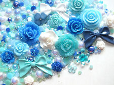 CandyCabsUK Mixed Resin Flower & Bow Kits Ice Blue + FREE Gems & Pearls P&P