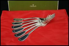CHRISTOFLE CHINON PATTERN 6 DINNER FORKS SILVER PLATED FRANCE HALLMARKED 8 1/4.