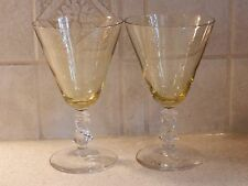 """BRYCE GLASS SHARON PATTERN PAIR WATER GOBLETS 6 1/8"""""""