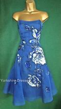 Rare COAST Royal Blue Silk Organza Beaded Strapless Prom Bridesmaid DRESS -Uk 12