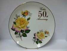 "50th GOLDEN ANNIVERSARY 8"" ROUND PLATE PORCELAIN CHINA - BINB - RRP £19.95"