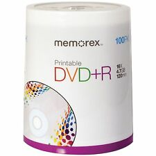 MEMOREX BRAND-NEW SPINDLE OF DVD+R PRINTABLE 100PK 4.7GB 16X