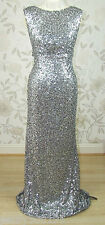 £199 BNWT Jenny Packham CARRIE All Over Silver Sequin Long Evening Dress Sz 16