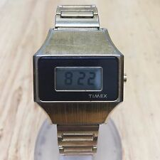 Vintage Timex Men Beefy Gold Tone Steel LCD Digital Watch Hours~Date~New Battery