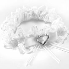 Garter white lace wedding accessory lucky bride Bow rhinestone heart elastic CP