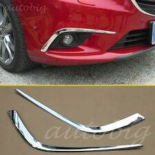 Triple Chrome FRONT Fog Light Cover Lamp Eyebrow Trim FOR 2014+ Mazda 6 ATENZA