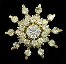 "RHINESTONE SNOWFLAKE Star PIN Vintage BROOCH Goldtone 1 3/8"" Broach"