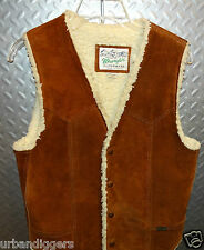 768/ Mens Vintage Wrangler Leather WESTERN VEST ~ Cowboy  ~ S Small Sherpa Lined