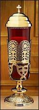 "Altar Sanctuary Light Lamp Brass Ruby Glass  Base: 18"" H x 5 1/4"" Diameter"