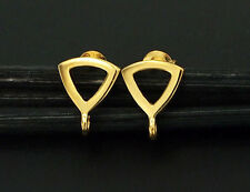 925 Sterling Silver 24k Gold Vermeil Style Triangle Earrings Post Findings
