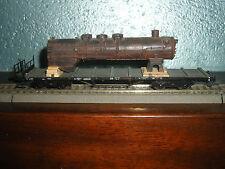 Roco raro carro pianale con carico parti locomotiva a vapore in scala H0