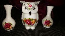 3 x chine pieces 2 small posy vases et un hibou vase/insence titulaire rose design