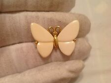 Vintage Trifari Crown Lucite Gold Tone Butterfly Brooch Pin
