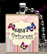 Butterflies Nana's Princess Girls Scrabble Tile Pendant Jewelry Grandmother Love
