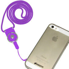 Amzer Round Detachable ID Card Key Chain Cell Phone Neck Lanyard Straps - Purple