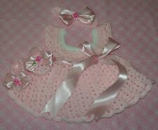 HANDMADE CROCHET BABY DRESS ,HEADBAND-BOOTIES PINK   by ROCKY MOUNTAIN MARTY