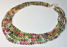 Fine Tourmaline Faceted Round Bead Necklace 14K Gold Diamond Clasp