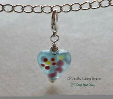 Clip-On Charms 2pcs. Lampworked Blue Hearts Zipper Pull Fits Link Chain Bracelet