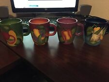 GATES WARE Set of 4 Vegetable design Coffee Mugs by Laurie Gates Great Condition