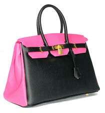 Italian Leather Two Tone Black Fushia Birkin Bag