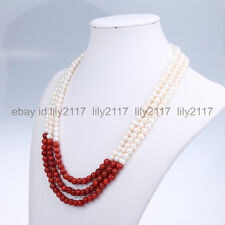"""AAA 3Row 8mm red coral +7-8mm White Cultured Freshwater Pearls Necklace 17-19"""""""