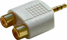 GOLD 3.5mm Stereo Jack Plug to 2 x Female RCA Phono Connectors Adapter WHITE