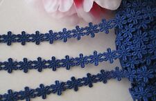 Royal blue floral embroidery lace trim ribbon - selling by the yard