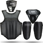 4PCS Kit Set Boxing MMA Martial Art Headgear Chest Leg Groin Cup Protector Guard
