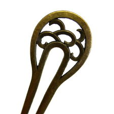 Antiqued Gold Bun Holder Updo French Twist Maker Tool Hair Stick Fork Clip Pin