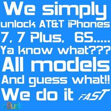AT&T iPhone 6 6S 7 + Plus 5S 5 4S ATT factory unlock service code clean contract