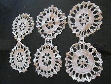 Vintage Set of 3 Hand made Crochet Beige Double Doilies Snowflake Floral
