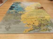 8 x 10 Gray Yellow Green Blue Contemporary Hand Tufted Wool Modern Area Rug New