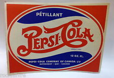 ORIGINAL 1940's french PEPSI-COLA paper BOTTLE LABEL * Montreal Quebec Canada