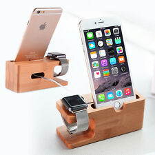 Bamboo Wood Charging Dock Station Charger Holder Stand For Apple Watch & iPhone