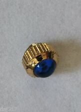 GOLD PLATED DUST PROOF WINDING/WINDER CROWN, BUTTON. BLUE CABOCHON STONE. Tap 9