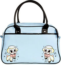 78066 Sky Blue Lil Lamb Bowler Purse Sourpuss Pinup Rockabilly Cartoon Retro NEW